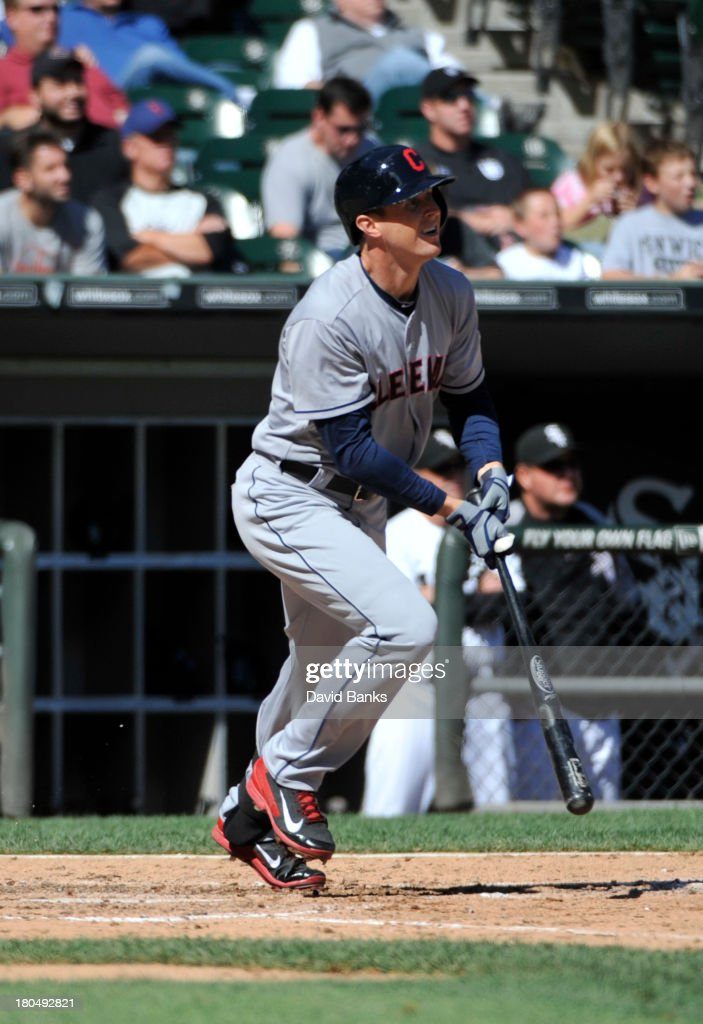 <a gi-track='captionPersonalityLinkClicked' href=/galleries/search?phrase=Drew+Stubbs+-+Baseball+Player&family=editorial&specificpeople=4498334 ng-click='$event.stopPropagation()'>Drew Stubbs</a> #11 of the Cleveland Indians watches his RBI single against the Chicago White Sox during the fourth inning on September 13, 2013 at U.S. Cellular Field in Chicago, Illinois.