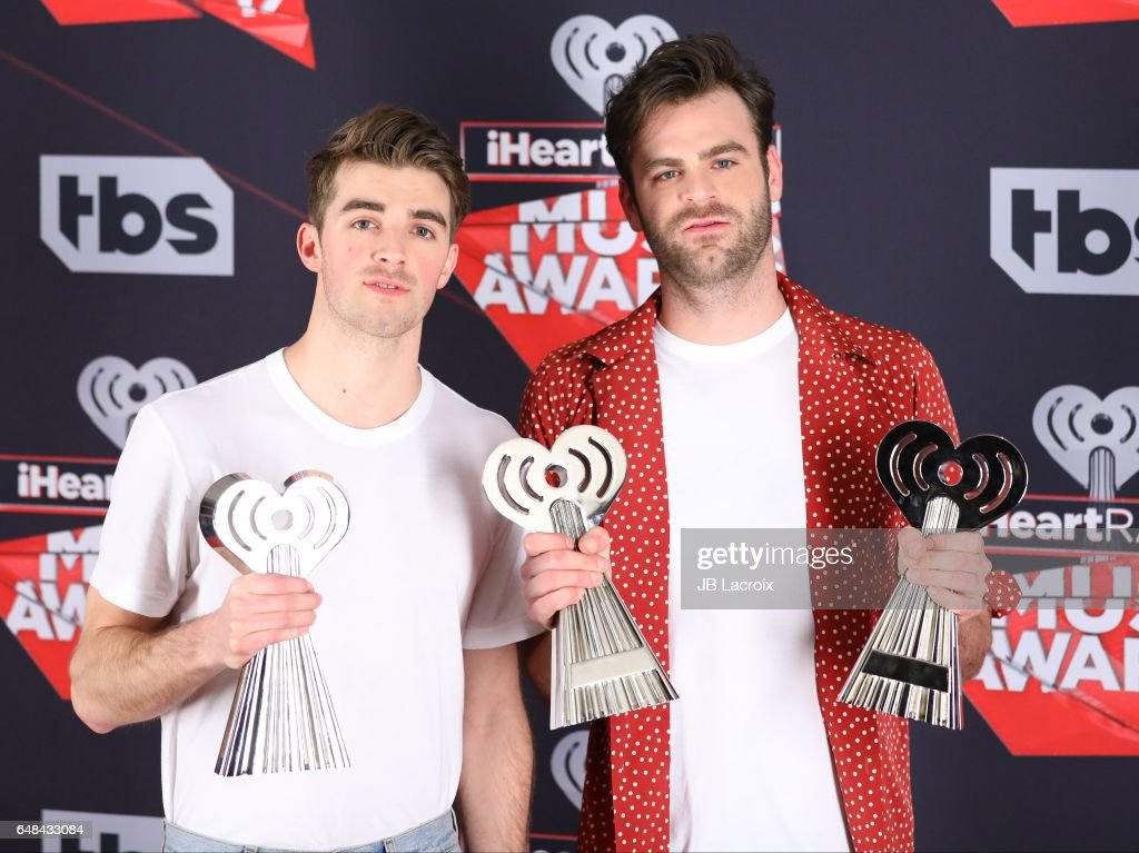Drew Taggart and Alex Pallposes of The Chainsmokers pose during the 2017 iHeartRadio Music Awards at The Forum on March 5, 2017 in Inglewood, California.