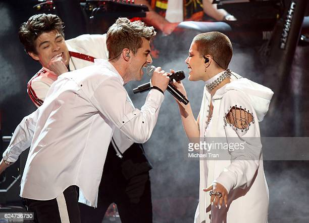 Drew Taggart from the band The Chainsmokers and Halsey perform onstage during the 2016 American Music Awards held at Microsoft Theater on November 20...