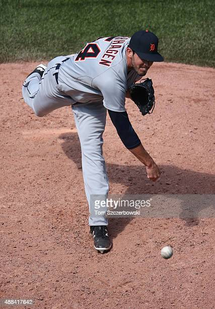 Drew VerHagen of the Detroit Tigers delivers a pitch in the sixth inning during MLB game action against the Toronto Blue Jays on August 30 2015 at...