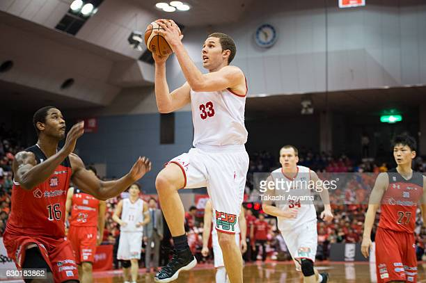 Drew Viney of the Toyama Grouses goes up for a shot during the B League match between Chiba Jets and Toyama Grouses at the Funabashi Arena on...