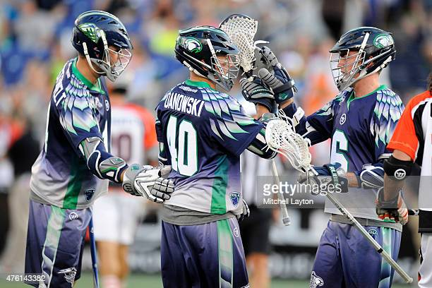 Drew Westervelt Matt Danowski and Ben Rubeor of the Chesapeake Bayhawks celebrate after their fifth goal during a MLL lacrosse game against the...