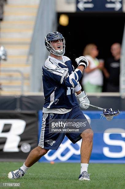 Drew Westervelt of Chesapeake Bayhawks celebrates after scoring a goal against the Hamilton Nationals in the first half during the 2013 MLL Semifinal...