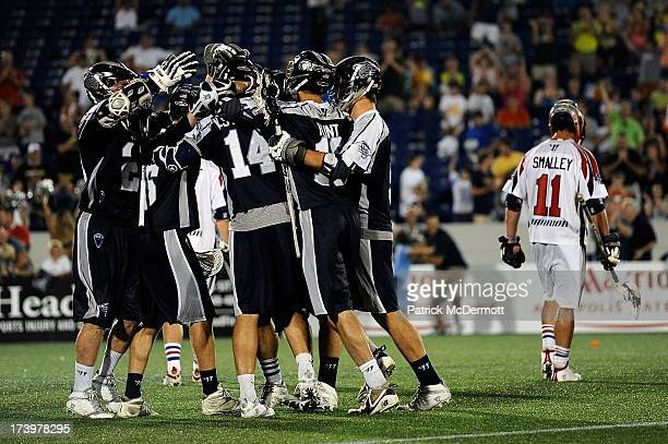 Drew Westervelt of Chesapeake Bayhawks celebrates after scoring the game winning overtime goal against the Boston Cannons during a game at NavyMarine...