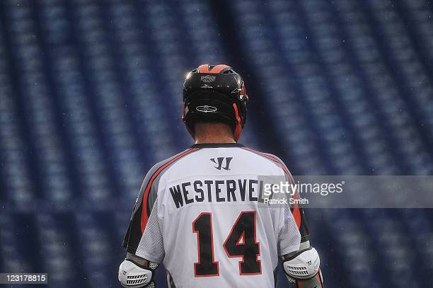 Drew Westervelt of Denver Outlaws runs up the field against the Hamilton Nationals in the first quarter at NavyMarine Corps Memorial Stadium on...