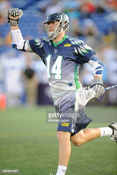 Drew Westervelt of the Chesapeake Bayhawks celebrates scoring a goal in the second perid during a MLL lacrosse game against the Ohio Machine on May...