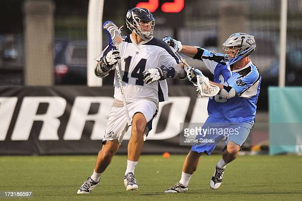 Drew Westervelt of the Chesapeake Bayhawks controls the ball against the Ohio Machine on July 6 2013 at Selby Stadium in Delaware Ohio