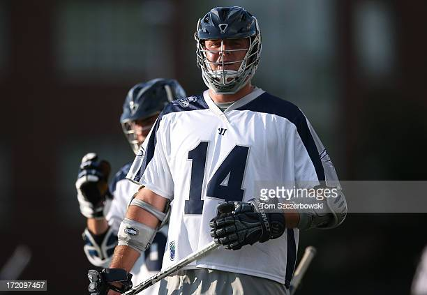 Drew Westervelt of the Chesapeake Bayhawks during Major League Lacrosse game action against the Hamilton Nationals on June 29 2013 at Ron Joyce...
