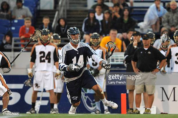Drew Westervelt of the Chesapeake Bayhawks moves the ball against the Rochester Rattlers at NavyMarine Corps Memorial Stadium on August 3 2013 in...