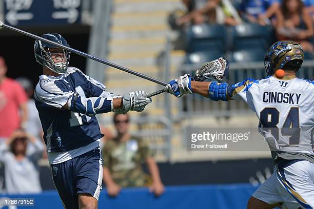 Drew Westervelt of the Chesapeake Bayhawks shoots against the Charlotte Hounds during the MLL Championship at PPL Park on August 25 2013 in Chester...