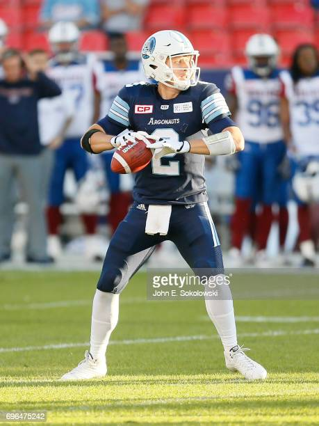 Drew Willy of the Toronto Argonauts looks to pass against the Montreal Alouettes during a CFL preseason game at BMO field on June 8 2017 in Toronto...