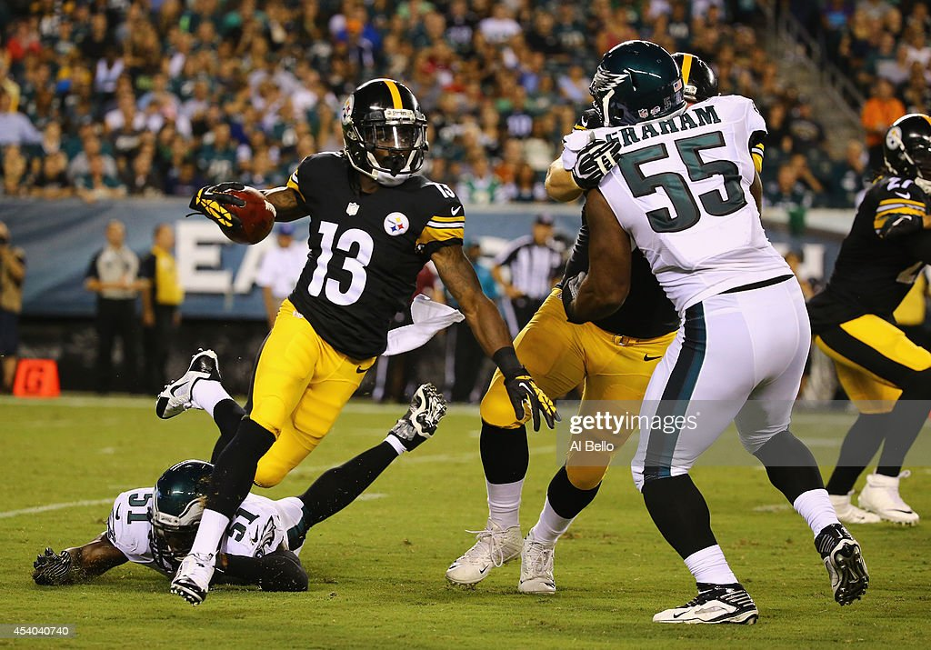 <a gi-track='captionPersonalityLinkClicked' href=/galleries/search?phrase=Dri+Archer&family=editorial&specificpeople=9689813 ng-click='$event.stopPropagation()'>Dri Archer</a> #13 of the Pittsburgh Steelers in action against the Philadelphia Eagles during their Pre Season game at Lincoln Financial Field on August 21, 2014 in Philadelphia, Pennsylvania.