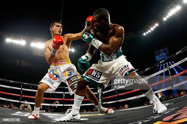 Drian Francisco throws a left to the head of Guillermo Rigondeaux during their junior featherweight bout at the Mandalay Bay Events Center on...