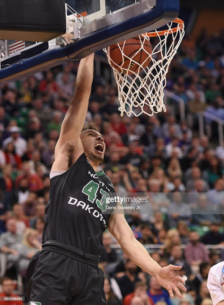 Drick Bernstine #43 of the North Dakota Fighting Sioux dunks the ball against the Arizona Wildcats during the first round of the 2017 NCAA Men's Basketball Tournament at Vivint Smart Home Arena on March 16, 2017 in Salt Lake City, Utah.