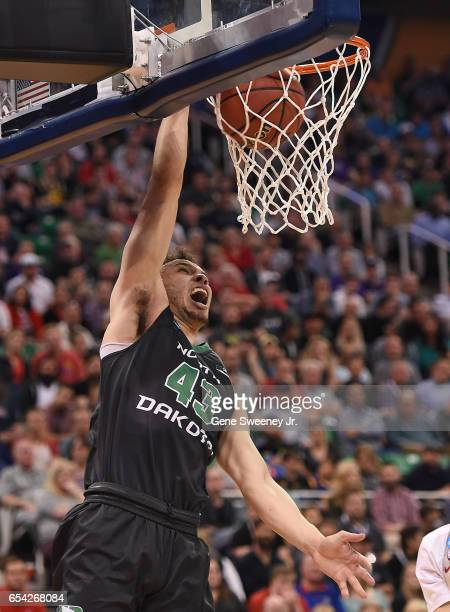 Drick Bernstine of the North Dakota Fighting Sioux dunks the ball against the Arizona Wildcats during the first round of the 2017 NCAA Men's...