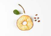 dried apple ring, seeds, stem and leaf