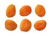 Dried apricots isolated on white background, close up