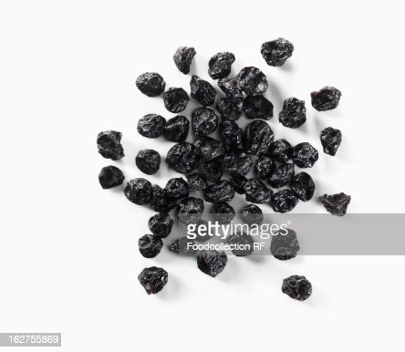 Dried blueberries on white background