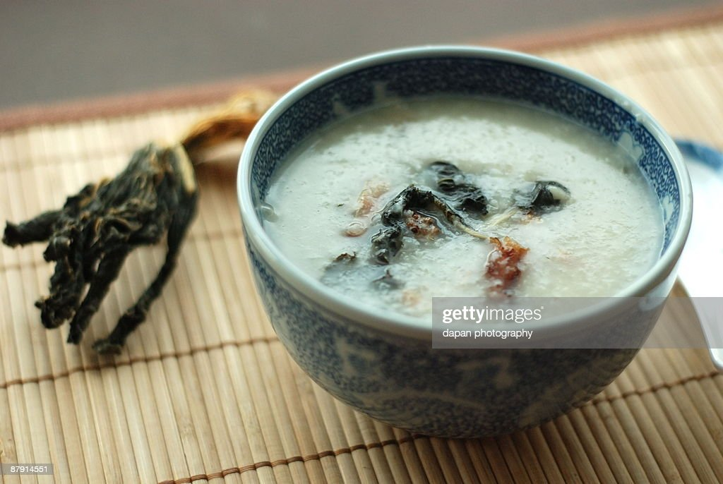 Dried Bok Choy and Spareribs Congee : Stock Photo