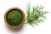 Dried chopped dill in a dark wood bowl next to fresh dill leaves isolated on white from above.