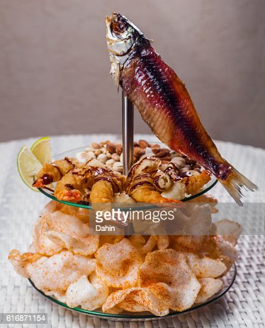 Dried fish, chips and shrimp. Snack to beer : Stock Photo