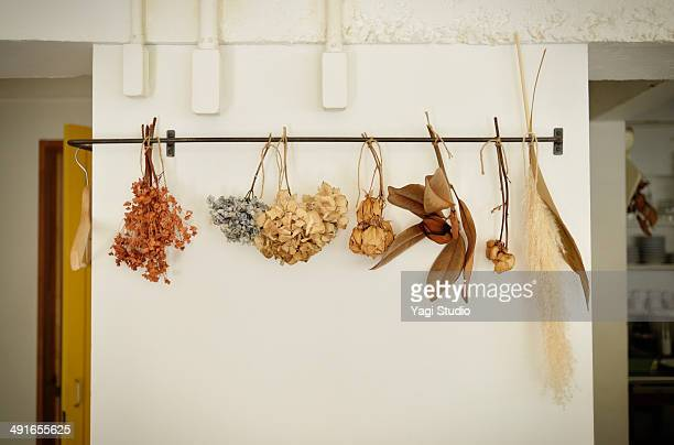 Dried flowers  displayed in  cafe