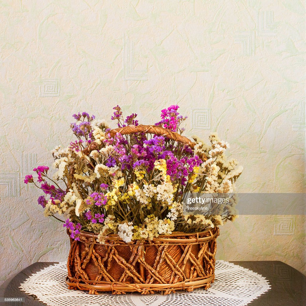 Dried flowers in a basket : Stock Photo