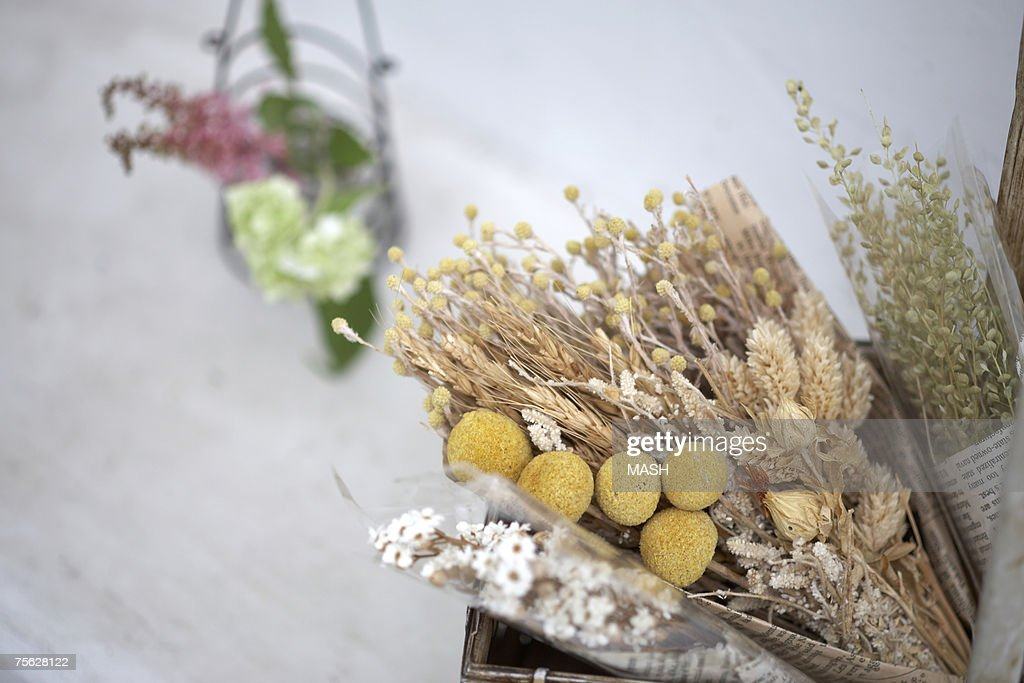 Dried flowers in basket, close-up : Stock Photo