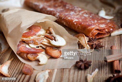 Dried fruit and spices for mulled wine, star anise, cinnamon : Stock Photo