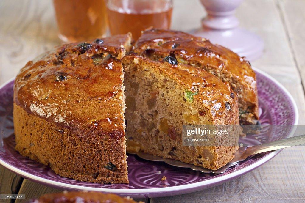 Dried fruit cake with glaze : Stock Photo