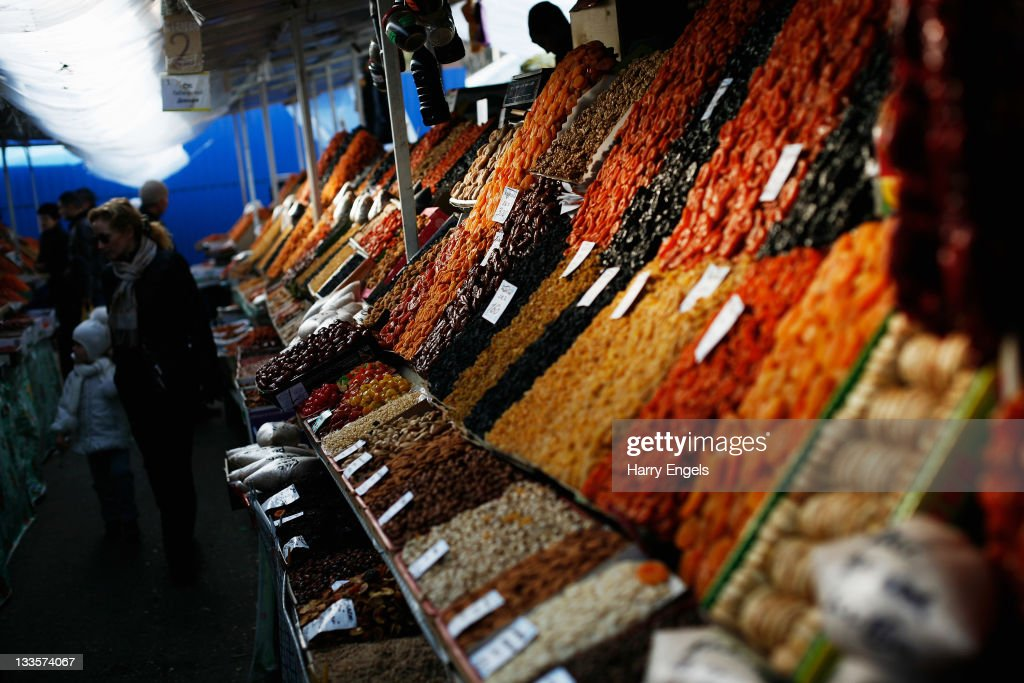 Dried fruit is displayed in the central market on November 19, 2011 in Krasnodar, Russia. Krasnodar is one of thirteen cities proposed as a host city as Russia prepares to host the 2018 FIFA World Cup.