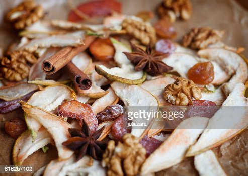 Dried fruit, natural candy and spices for mulled wine : Stock Photo