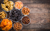 Dried fruits and nuts in the bowl