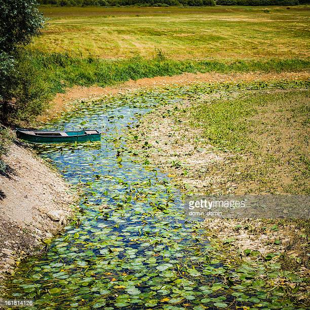 Dried lake with abandoned boat, summer, drought, global warming, Slovenia