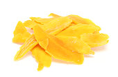 Pictured dried mango in a white background.