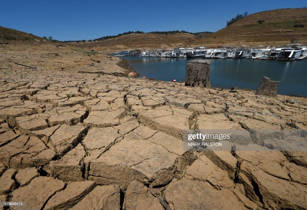 Dried mud and the remnants of a marina is seen at the New Melones Lake reservoir which is now at less than 20 percent capacity as a severe drought...