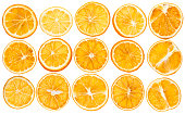 Dried oranges isolated on white background closeup top view