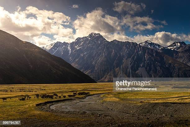 Dried River run along Mount Cook range, NZ