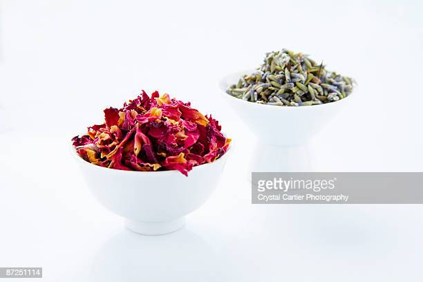Dried rose petals and lavender in bowls
