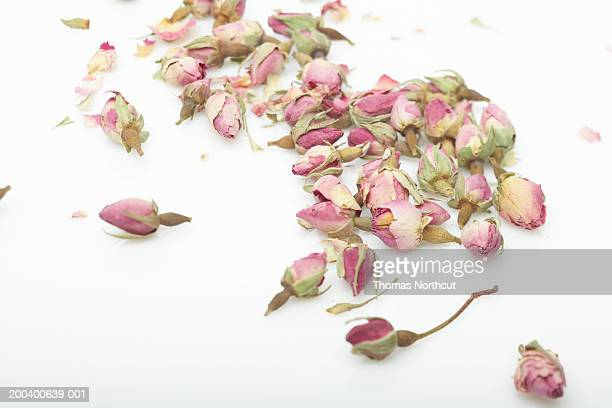 Dried rosebuds, elevated view