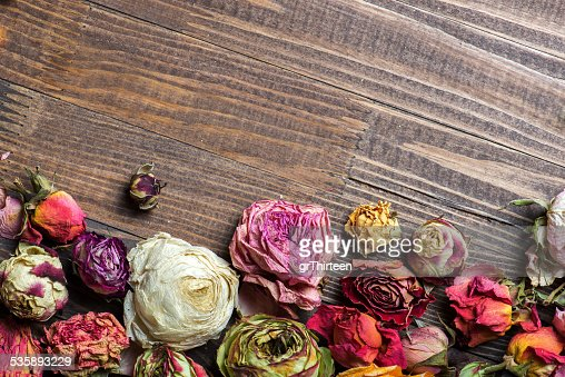 Dried roses. Valentines background. : Stockfoto