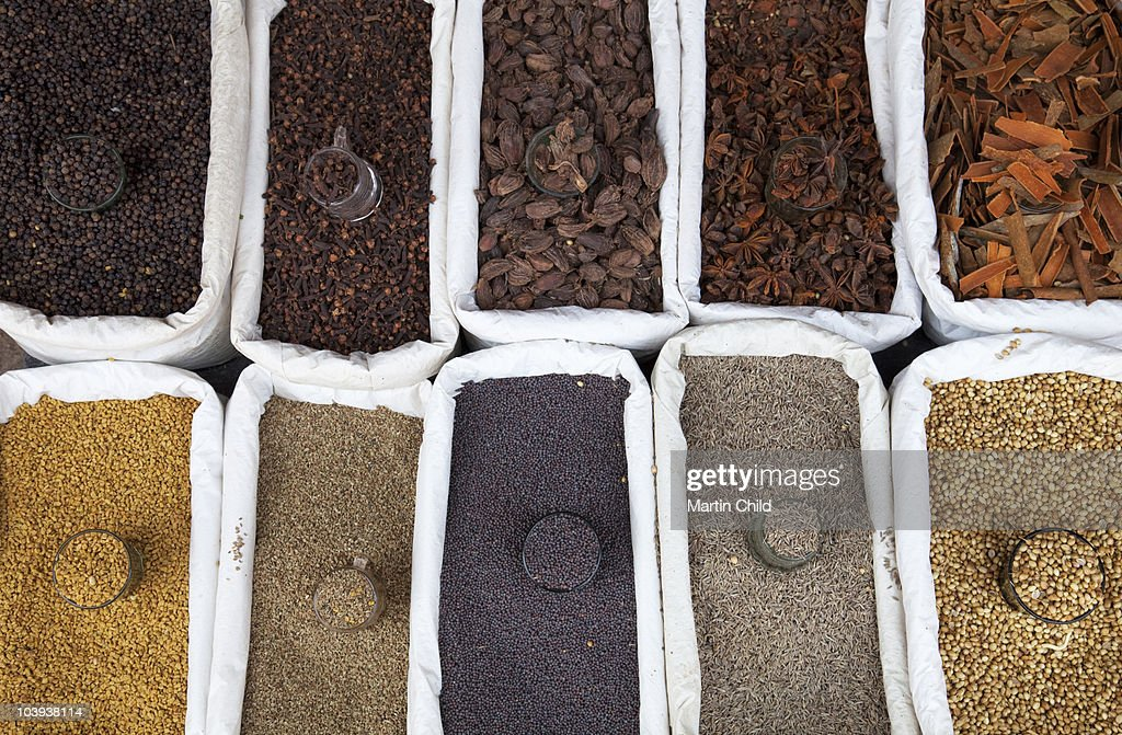 dried spices for sale on market stall : Stock Photo