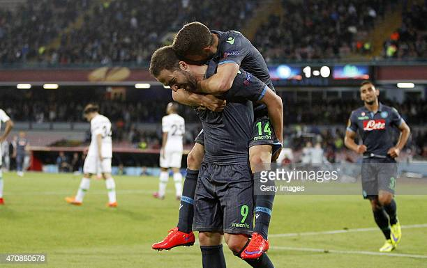 Dries Mertens and Gonzalo Higuain of Napoli celebrate a goal 20 scored by Dries Mertens during the UEFA Europa League quarterfinal second leg...