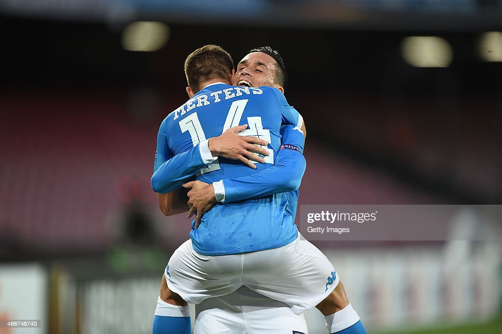 Dries Mertens and Jose Maria Callejon of Napoli celebrate a goal 20 scored by Dries Mertens during the UEFA Europa League match between Napoli and...