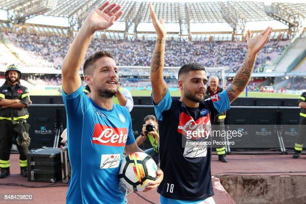 Dries Mertens and Lorenzo Insigne celebrate the victory after the Serie A match between SSC Napoli and Benevento Calcio at Stadio San Paolo on...