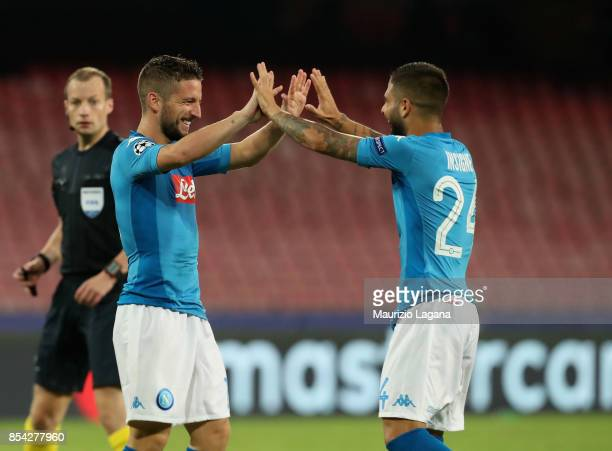 Dries Mertens and Lorenzo Insigne of Napoli celebrate their team's second goal during the UEFA Champions League group F match between SSC Napoli and...