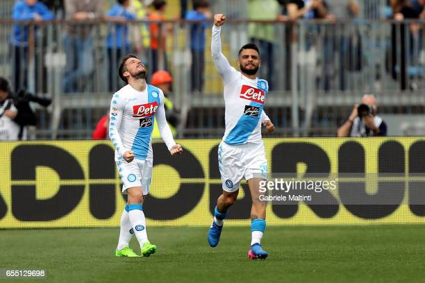 Dries Mertens and Lorenzo Insigne of SSC Napoli celebrates after scoring a goal during the Serie A match between Empoli FC and SSC Napoli at Stadio...