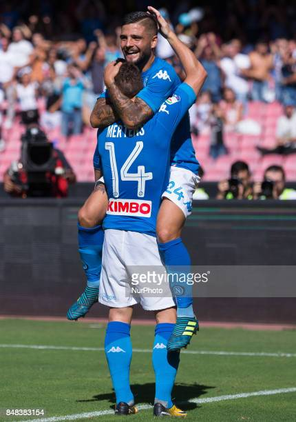 Dries Mertens and Lorenzo Insigne of SSC Napoli celebrates after scoring during the Italian Serie A match between SSC Napoli and Benevento at San...