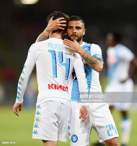 Dries Mertens and Lorenzo Insigne of SSC Napoli in action during the Serie A match between SSC Napoli and ACF Fiorentina at Stadio San Paolo on May...