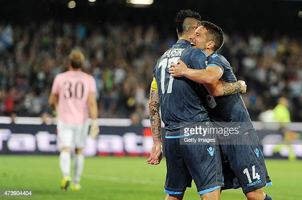 Dries Mertens and Marek Hamsik of Napoli celebrate a goal 32 scored by Dries Mertens during the Serie A match between SSC Napoli AC Cesena at Stadio...